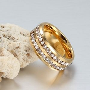 Jewelry - PREVIEW Gold Stainless Steel CZ Crystal 2 Row Ring